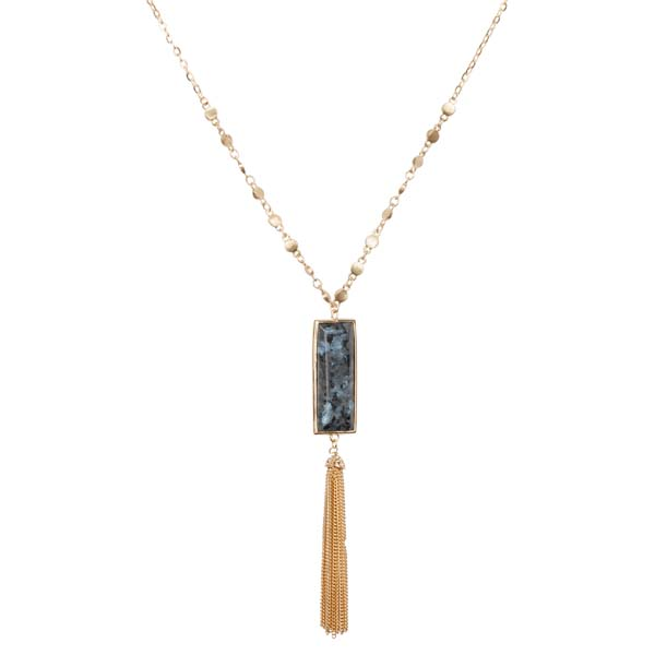 Mia and Tess Stone Bar Tassel Necklace