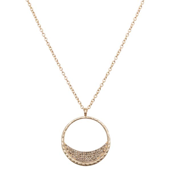 Mia and Tess Crystal Pave Ring Pendant Necklace