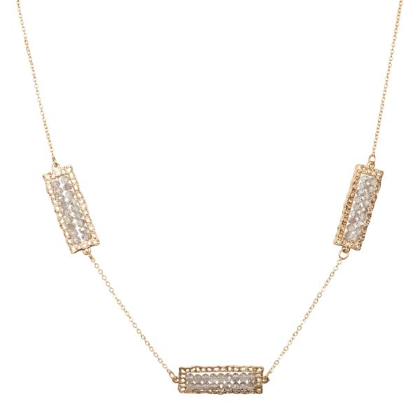 Mia and Tess Beaded Rectangle Necklace