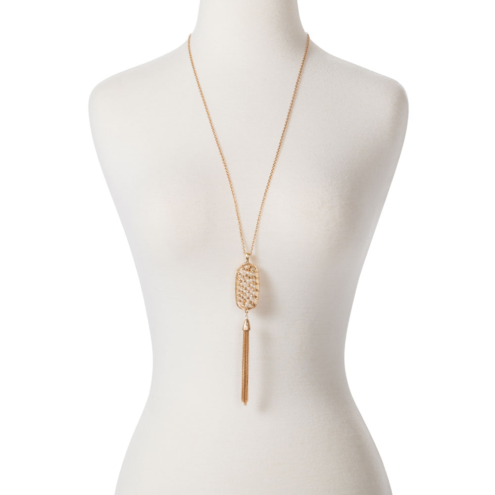 Mia and Tess Beaded Oval Charm and Tassel Necklace in Ivory