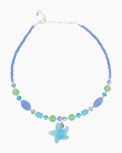 Aqua and Blue Sea Glass Starfish Necklace