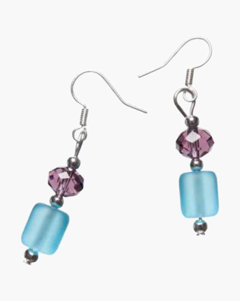 The Paper Store Aqua and Purple Sea Glass Earrings