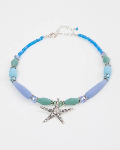 Multi-Blue Beaded Starfish Pendant Necklace