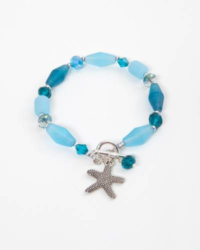 Teal Glass Beaded Starfish Charm Bracelet