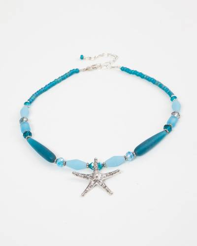 Teal Beaded Starfish Pendant Necklace