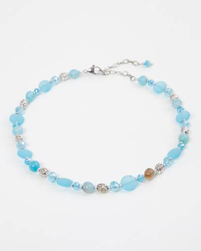 Light Aqua Sea Glass Beaded Necklace