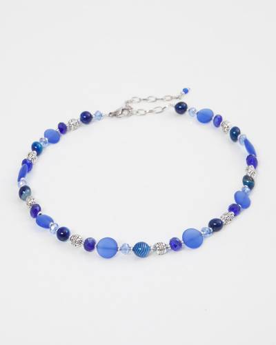 Cobalt Sea Glass Beaded Necklace