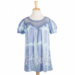 SOL Clothing Blue Floral Print and Lace Top