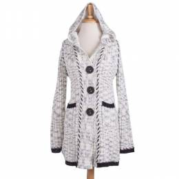 Papillon White Hooded Sweater Coatigan