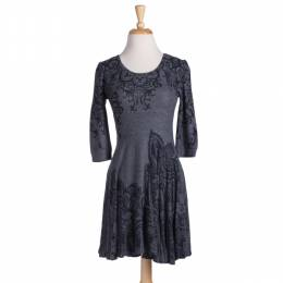 Papillon Charcoal Scroll Dress