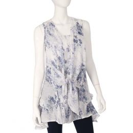 Papillon Tie Front Floral Pattern Tunic