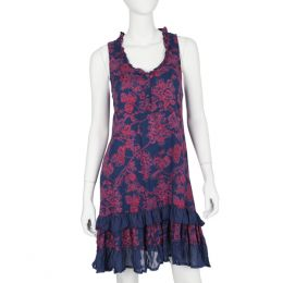 Papillon Navy and Pink Floral Ruffled Tunic