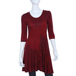 Papillon Burgundy Scroll Dress