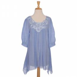 Papillon Periwinkle Shark Bite Tunic