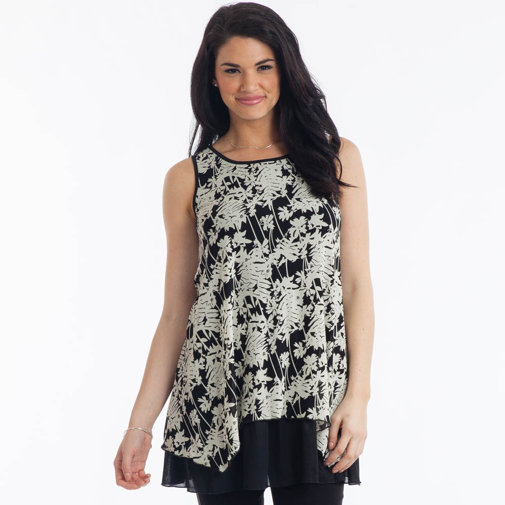 Papillon Sleeveless Leaf-Print Tunic