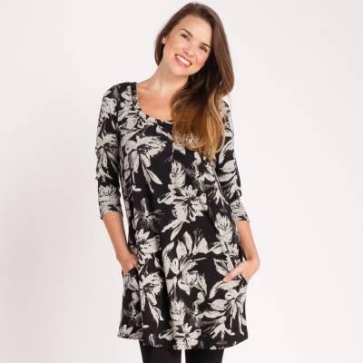 Scoop Neck Floral Dress