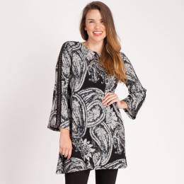 Papillon Trimmed Paisley Printed Dress