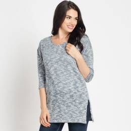 Papillon Blue Heather Split Hem Sweater