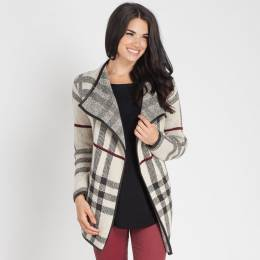 Papillon Trimmed Plaid Jacket