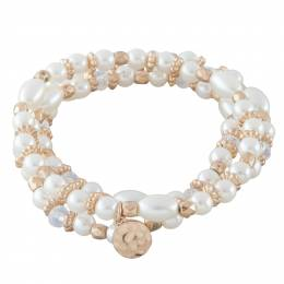 Mia and Tess Three Strand Bracelet in Gold and Pearls