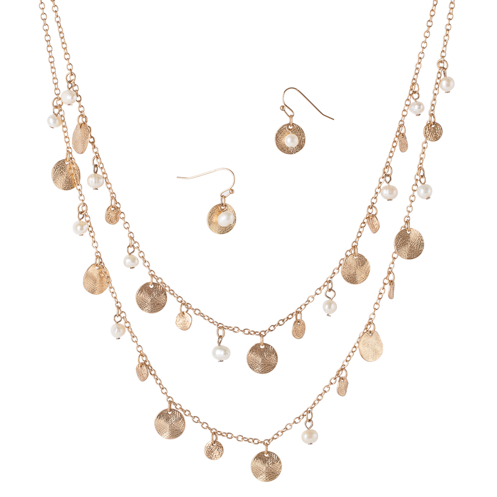 Mia and Tess Faux Pearl Necklace and Earrings Set