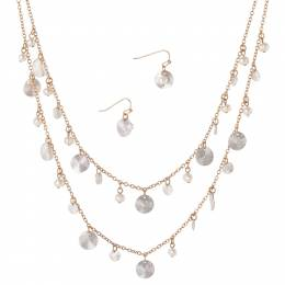 Mia + Tess Designs ™ Faux Pearl Necklace and Earrings Set in Gold and Silver