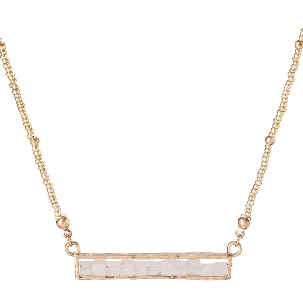 Mia and Tess Stone Bar Necklace