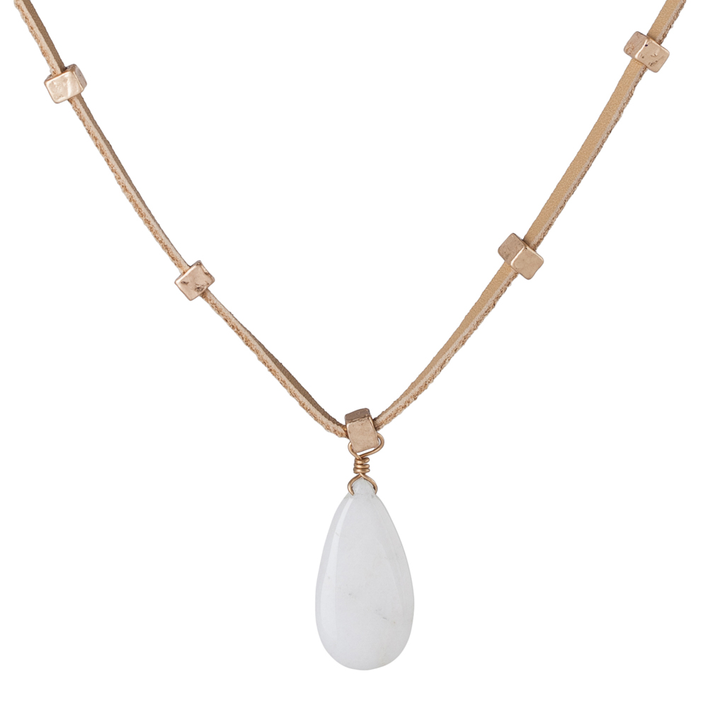 Mia and Tess Stone Pendant Choker in Ivory