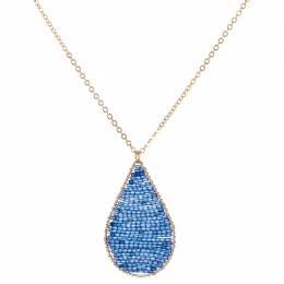 Mia and Tess Beaded Teardrop Necklace in Navy