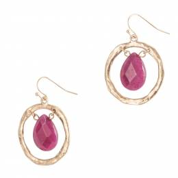 Influence Open Gold Ring and Teardrop Earrings in Berry
