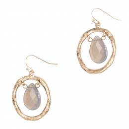 Influence Open Gold Ring and Teardrop Earrings in Grey