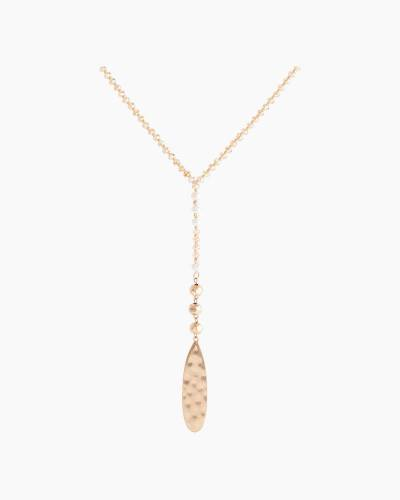 Hammered Teardrop Y-Necklace in Champagne