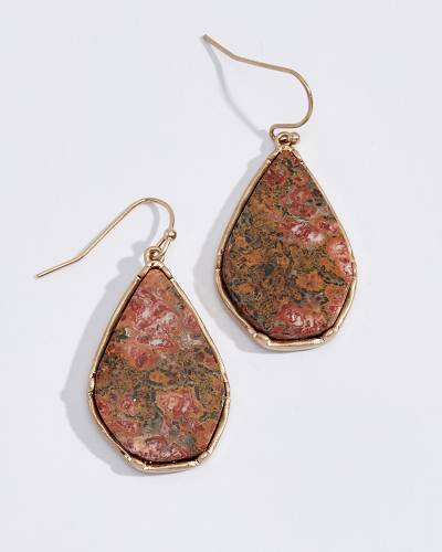 Red Jasper Stone Teardrop Earrings