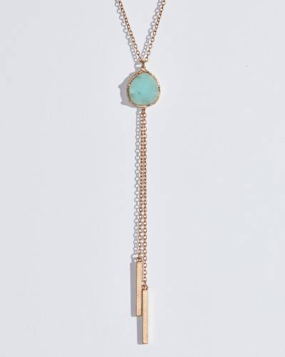 Amazonite Stone and Bar Tassel Necklace