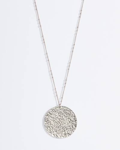 Exclusive Round Hammered Pendant Necklace