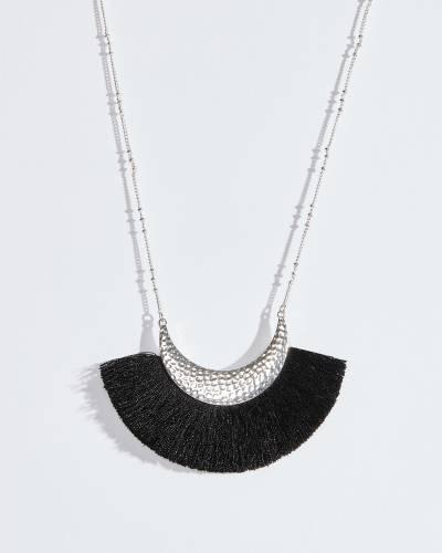 Black Fringe Hammered Crescent Necklace
