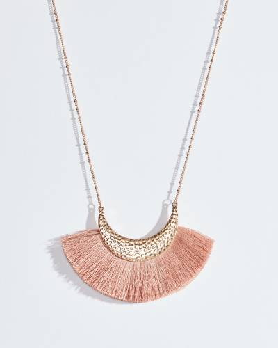 Pink Fringe Hammered Crescent Necklace