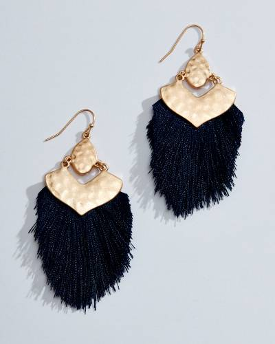 Navy Feather Fringe Earrings in Gold