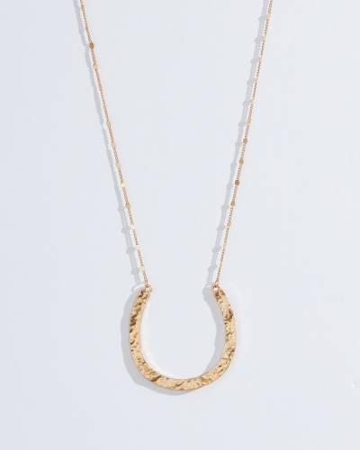 Exclusive Hammered Horseshoe Necklace in Gold