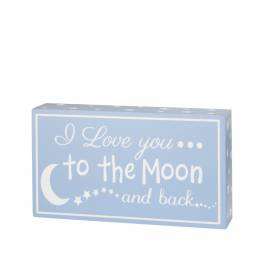 Adams & Co. Moon and Back Blue Wooden Box Sign