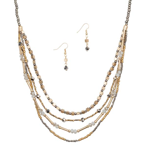 Mia and Tess Beaded Hematite Necklace and Earrings Set