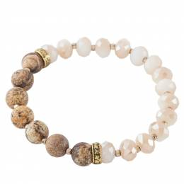 Mia and Tess Natural Tone Beaded Stretch Bracelet