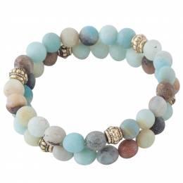 Mia and Tess Stone Bead Bracelet Set in Mint