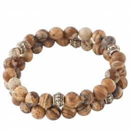 Mia and Tess Stone Bead Bracelet Set in Brown