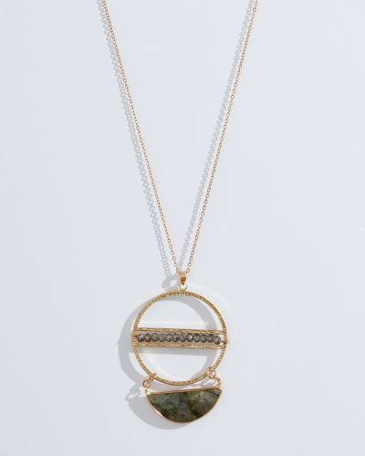Exclusive Layered Wood Pendant Necklace in Gold