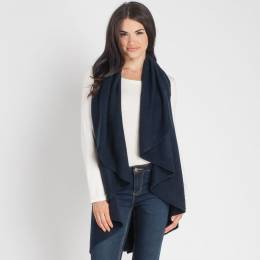 Look By M Shawl Collar Vest in Navy