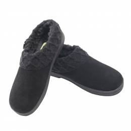 Green Soft Suede Slippers in Black
