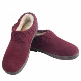 Green Soft Suede Slippers in Burgundy