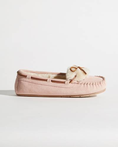 Suede Slippers in Pink