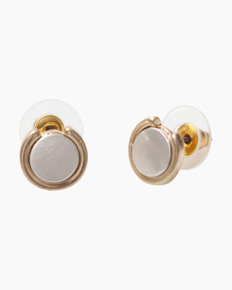Mia Tess Designs Exclusive Two Tone Satin Round Earrings The Paper